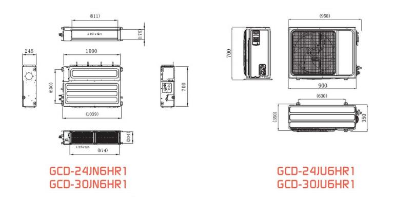 ابعاد اسپلیت کانالی GCD-24JU6HR1